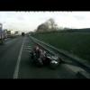 Грузовик сбивает мотоциклиста, ему очень повезло