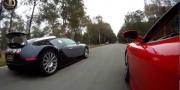 Ferrari F430 с Bugatti Veyron на закрытой дороге